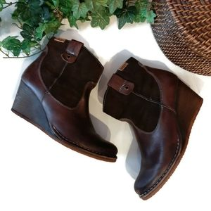 PIKOLINOS brown suede/leather wedge booties